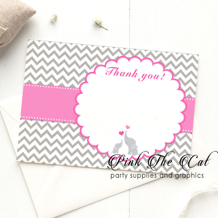 Elephant pink silver thank you card (set of 30)