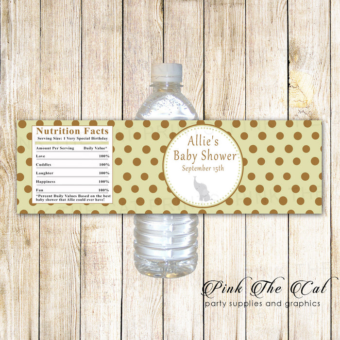 Elephant Baby Shower Bottle Label Green Brown