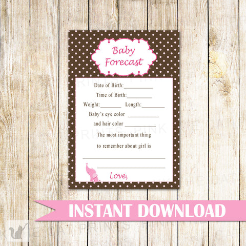Baby Forecast Advice Card Baby Girl Shower Elephant Pink Brown
