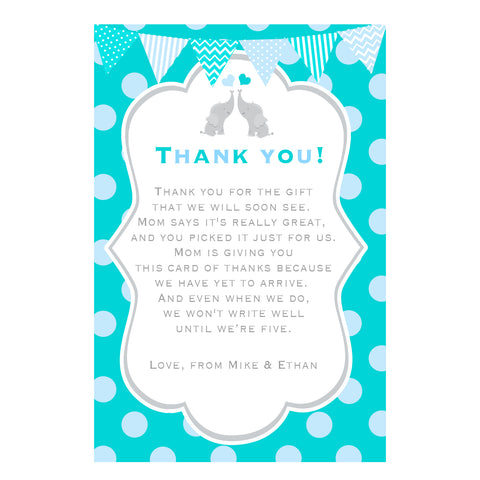 30 Cards Teal Twins Elephant Thank You Note Baby Shower
