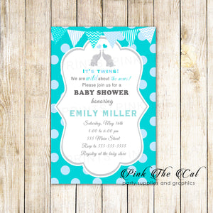 30 Elephant Invitations Baby Shower Teal Blue Twins Personalized