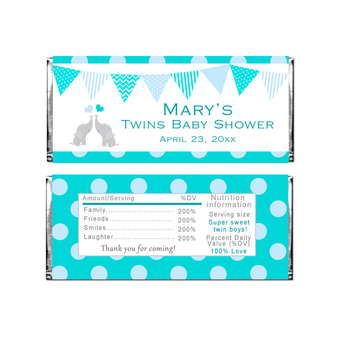 30 candy bar wrappers twin elephants baby shower teal