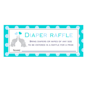 30 Diaper Raffle Cards Twins Elephant Baby Shower Teal