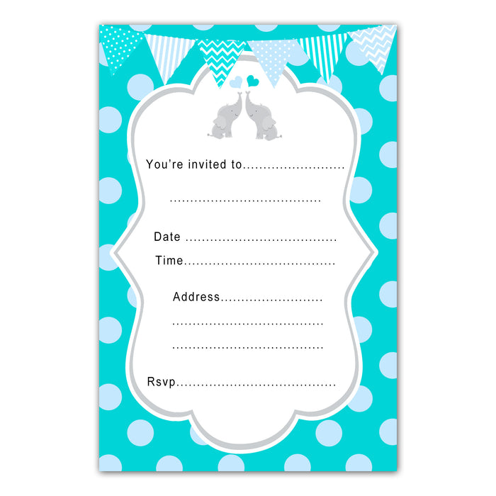 30 elephants birthday invitations fill in teal blue