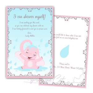 Elephant showering invitation pink