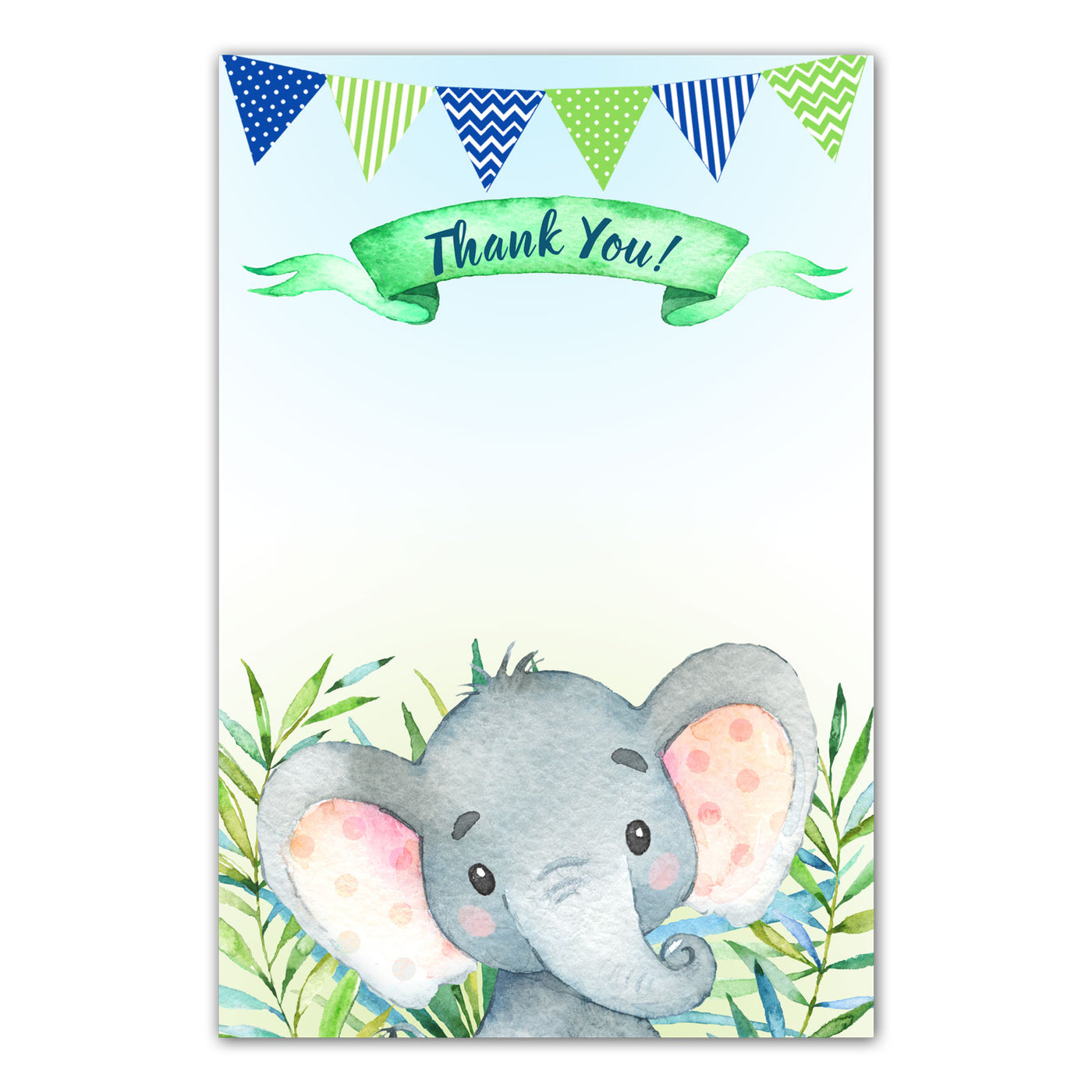 Personalised Pink Floral Elephant Baby Shower Thank You Cards with Envelopes