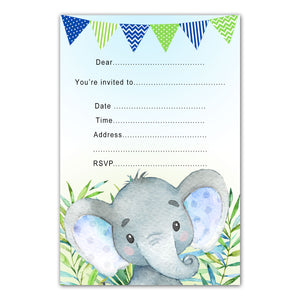 30 watercolor elephant birthday invitations fill in blue