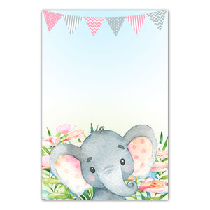 Invitations Thank you cards watercolor elephant pink printable