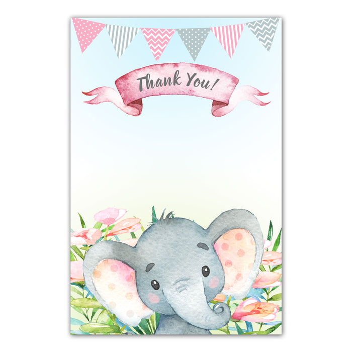 30 thank you cards watercolor elephant baby shower birthday pink