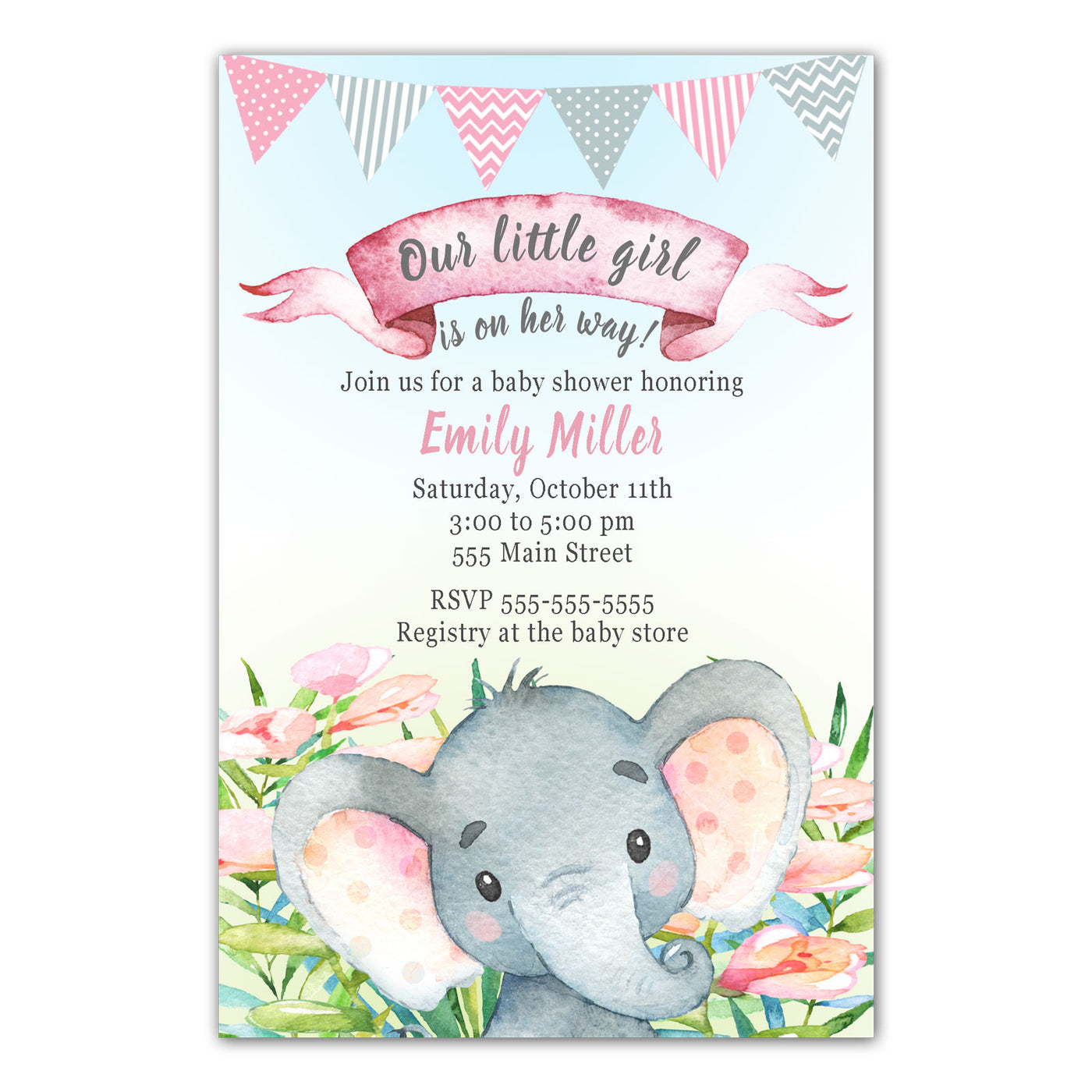 30 Elephant Invitations Watercolor Painted Girl Baby Shower Birthday