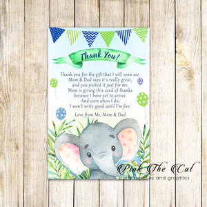 30 thank you cards watercolor elephant baby shower birthday boy