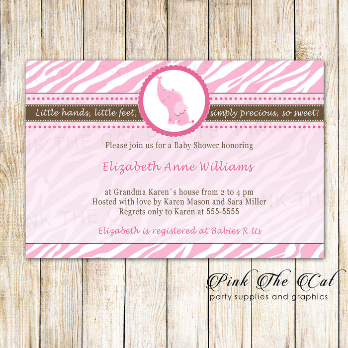 30 Invitations Jungle Elephant Birthday Baby Shower Pink
