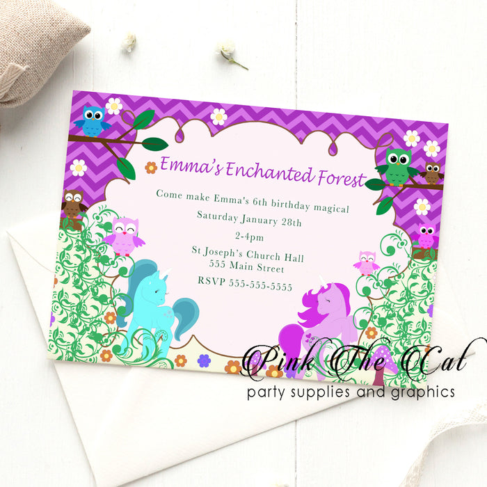Unicorn owl enchated forest invitation printable