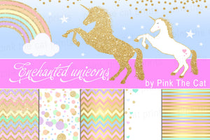 Unicorn Clipart & Background Papers Glitter Gold Confetti