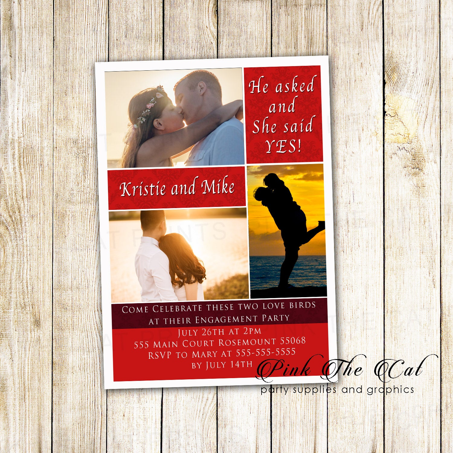 Wedding Engagement Invitation with Photos Red printable – Pink The Cat