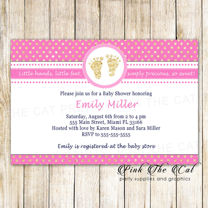 30 invitations girl baby shower pink gold glitter footprints