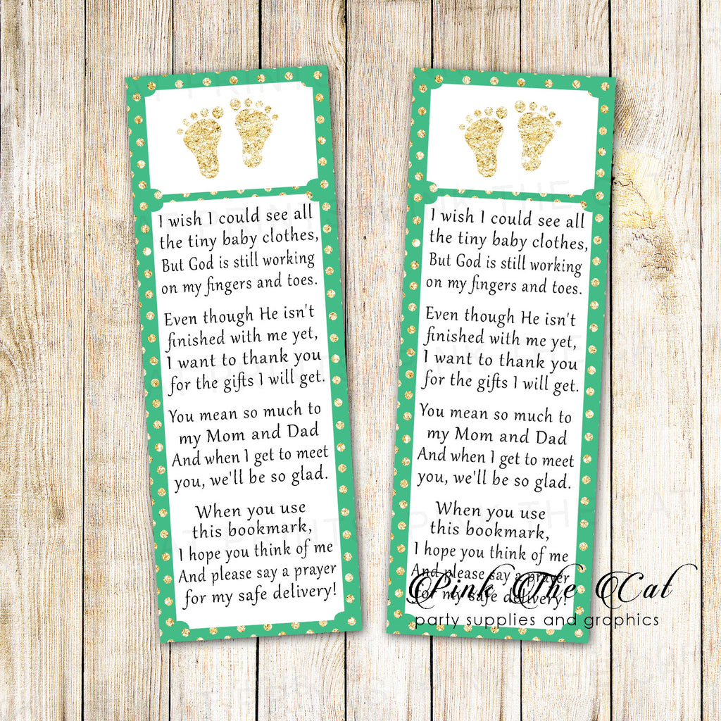 50 Bookmarks Baby Shower Favors Footprints Mint Gold