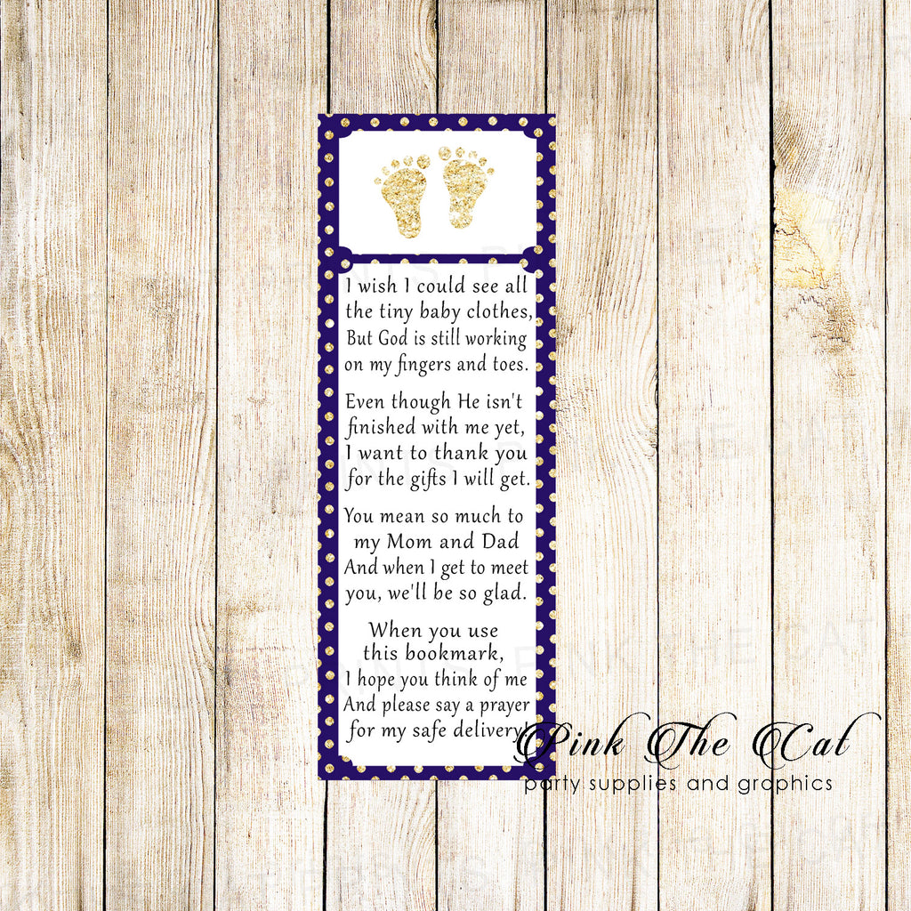 50 Bookmarks Baby Shower Favors Footprints Navy Blue Gold