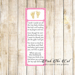 50 Bookmarks Baby Shower Favors Footprints Pink Gold