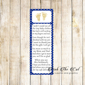 50 Bookmarks Baby Shower Favors Footprints Royal Blue Gold