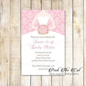 100 invitations sweet 16 quinceanera pink dress with envelopes