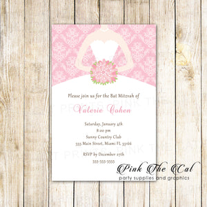 100 invitations bat mitzvah birthday pink dress with envelopes