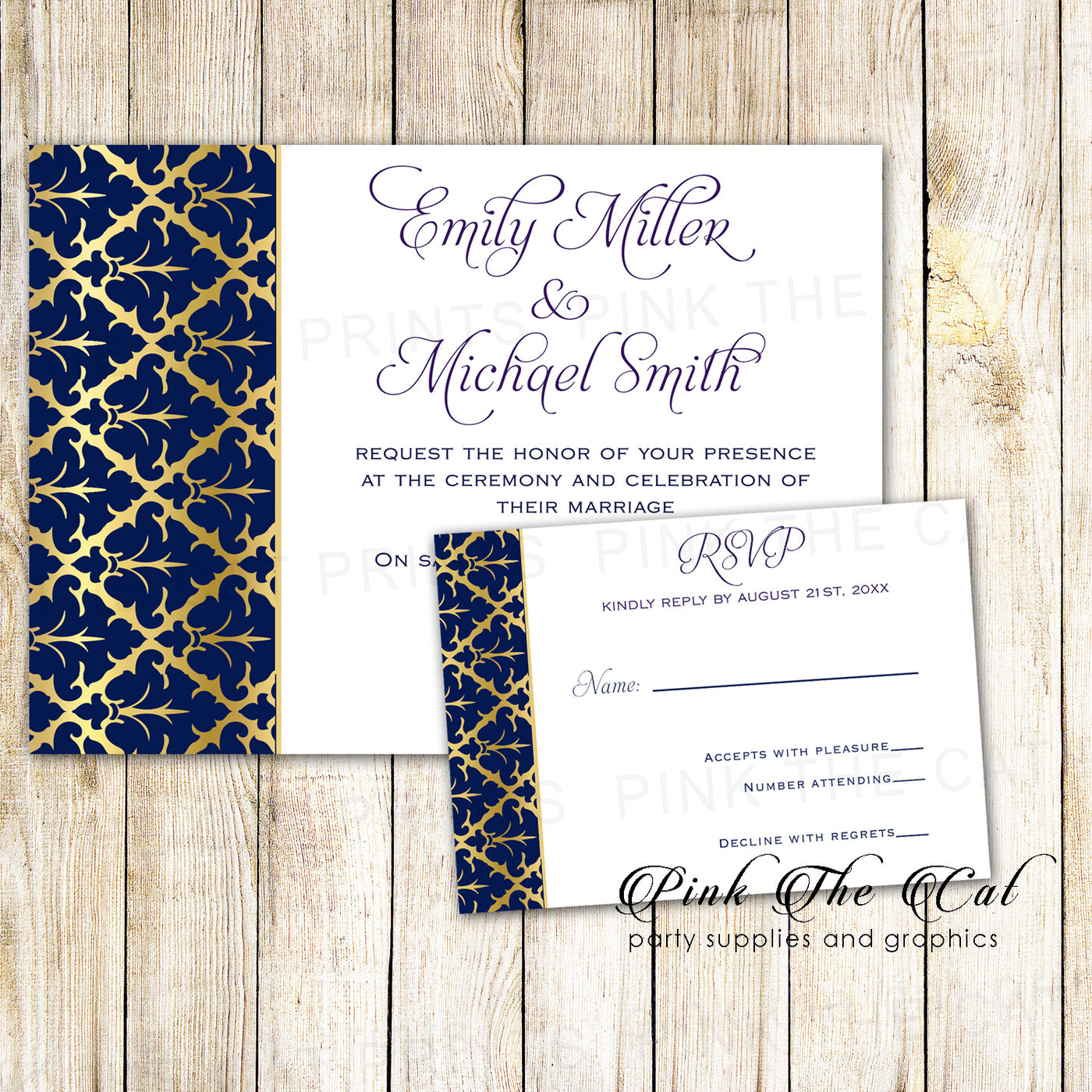 250 wedding invitations navy blue gold & response cards personalized – Pink  the Cat