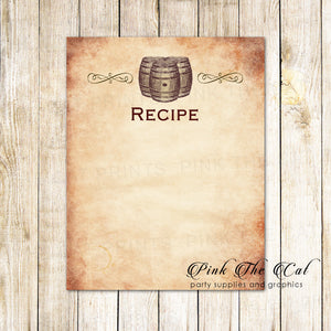 30 recipe cards wine rustic barrel bridal wedding shower