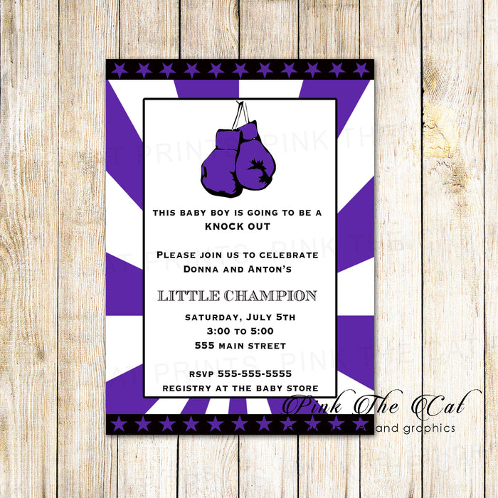 30 Baby Shower Invitations Purple Black Sports Boxing