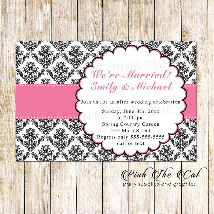 After wedding invitations pink black (set of 100)
