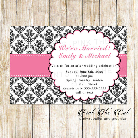 100 after wedding celebration invitations pink black cards personalized