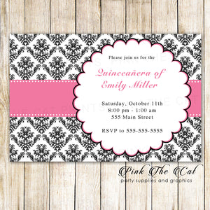 100 invitations sweet 16 quinceanera pink black with envelopes