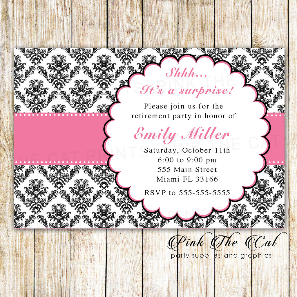 30 Invitations Retirement Party Pink Ribbon Black Damask