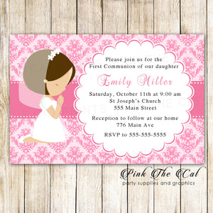 Girl praying first communion confirmation invitation pink