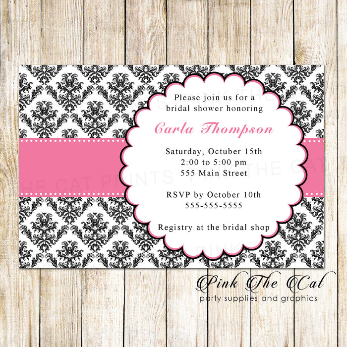 30 Bridal Shower Invitations Pink Black Damask