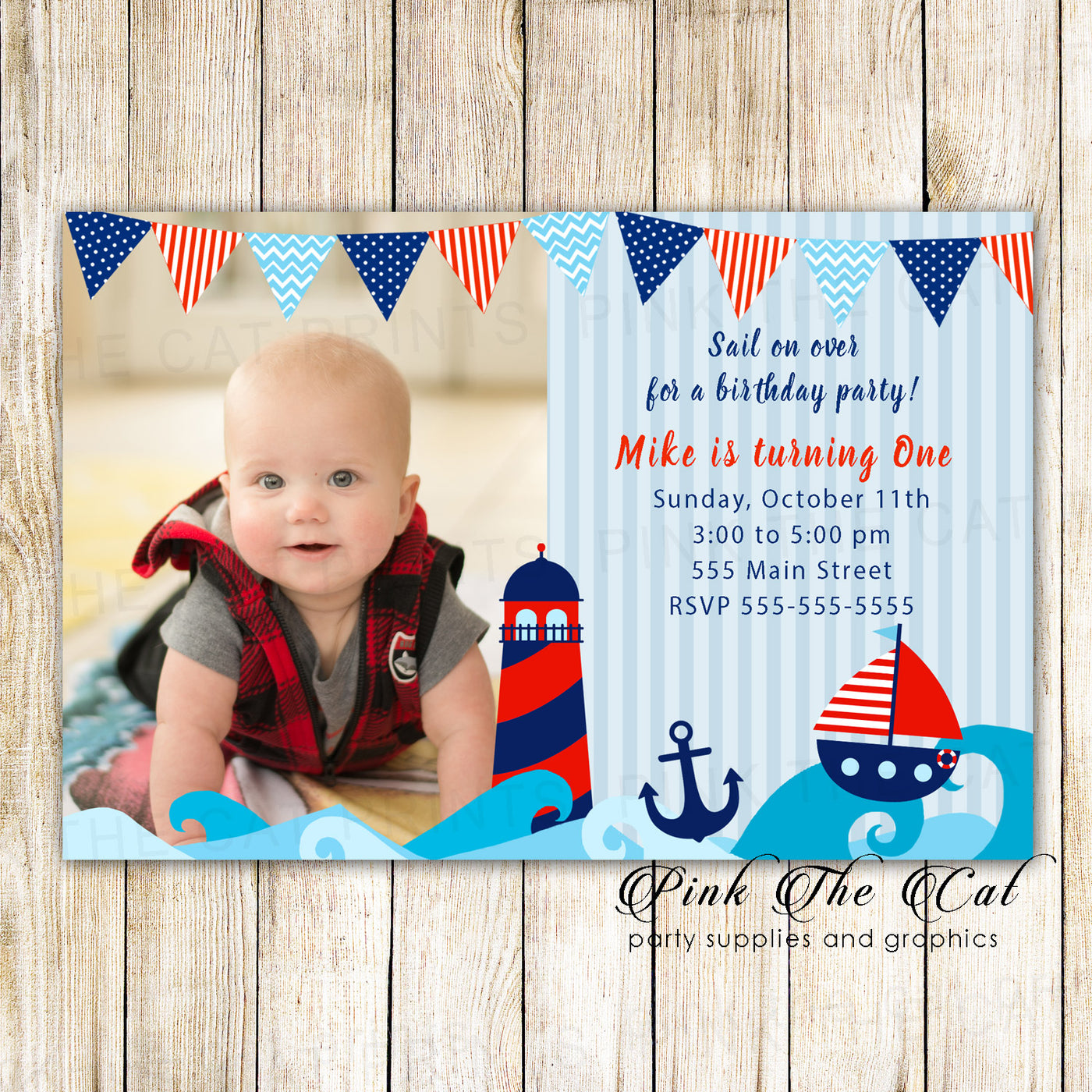 30 Invitations Nautical Kids Boy Birthday Party With Photo Pink The Cat