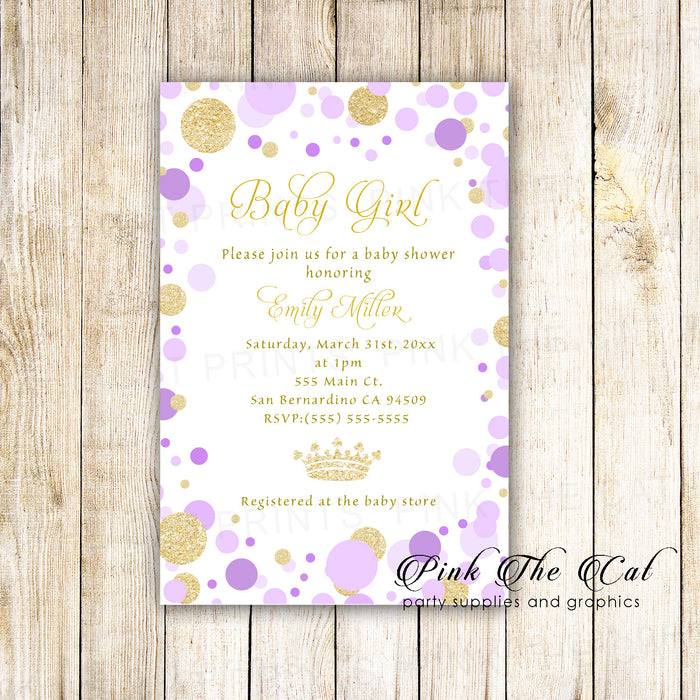 30 Invitations Little Princess Purple Gold Birthday Baby Shower