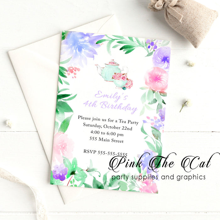Tea party floral invitation printable