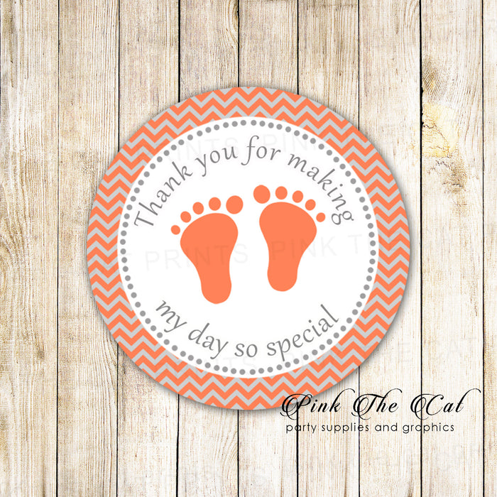 Grey Coral Thank You Label Gift Tag Sticker Unisex Baby Shower