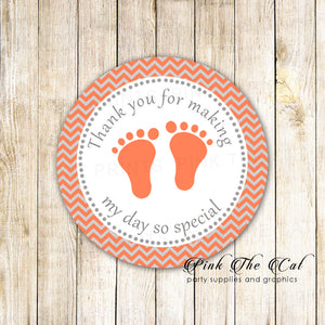 40 baby shower favor label stickers coral silver footprints