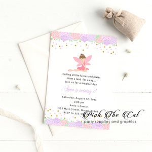 Fairy floral invitation pink purple printable birthday baby shower