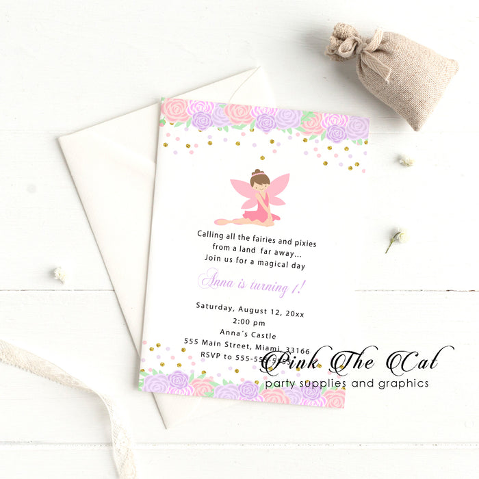 Fairy floral invitation pink purple printable