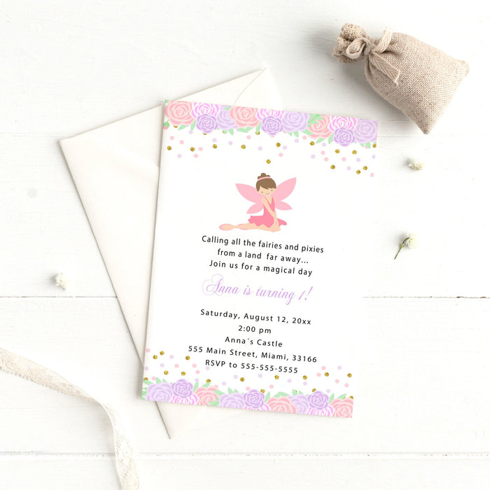 Fairy invitations pink purple floral (set of 30)