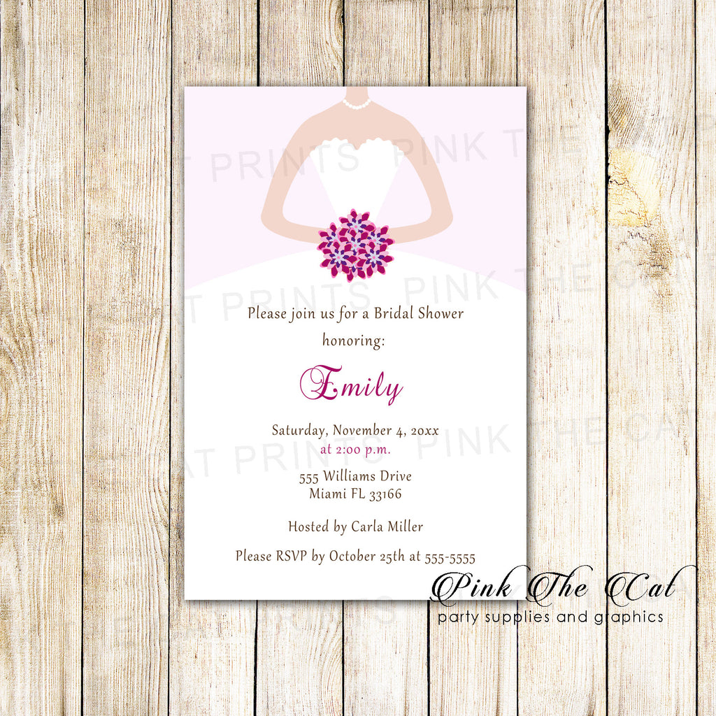30 Bridal Shower Invitations Purple White Dress