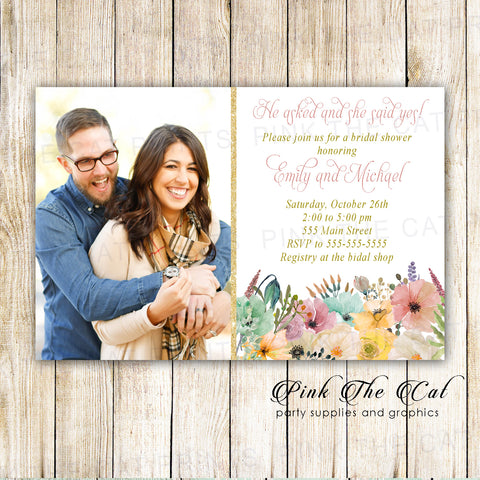 30 invitations fall wedding bridal shower floral with photo