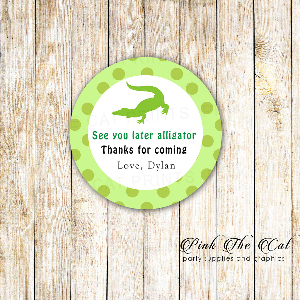40 stickers alligator favor label kids birthday party
