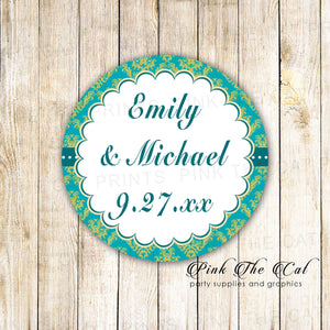 40 Stickers Favor Label Damask Teal Gold Adult Birthday