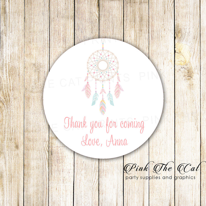 40 stickers dreamcatcher favor label girl birthday party baby shower