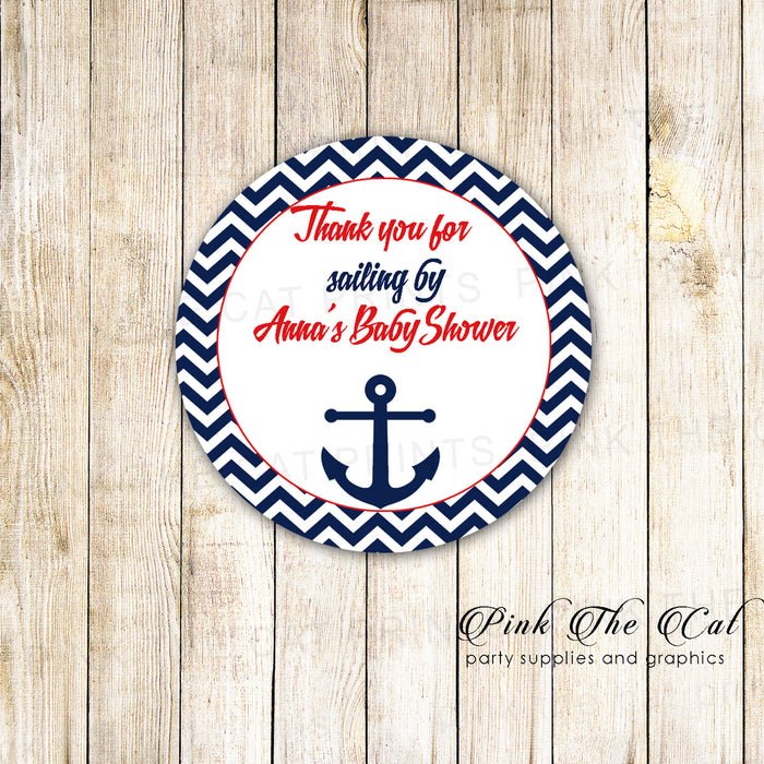 40 stickers nautical favor label birthday baby shower red blue