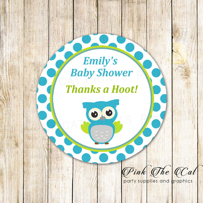 40 stickers owl favor label birthday baby shower teal green